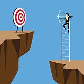 bow, shooting, high target, ladder , hit
