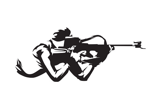 Shooting lying at biathlon, isolated vector silhouette, side view