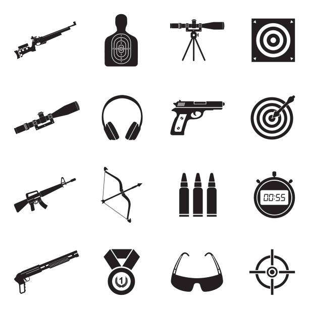 Shooting Range Icons. Black Flat Design. Vector Illustration. Target, Weapons, Sports, Shooting Range ammunition stock illustrations