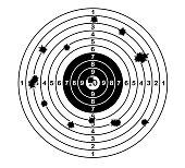 Shooting range target shot of bullet holes. vector illustration