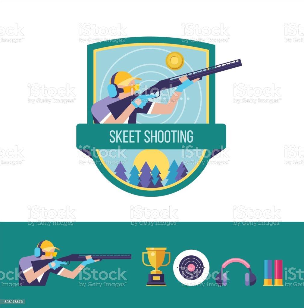Tir au pigeon d'argile. Le logo du club sportif. Ensemble d'éléments de graphiques de vecteur. - Illustration vectorielle