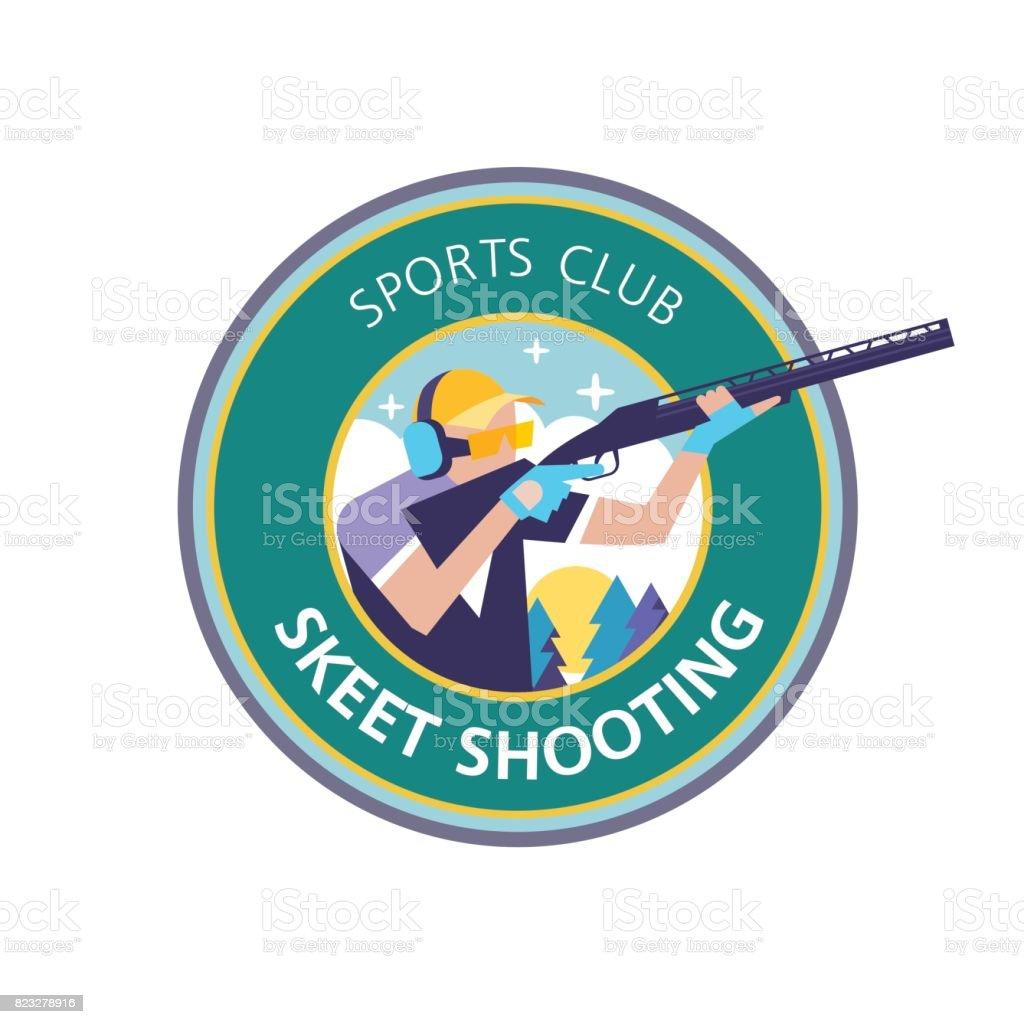 Tir au pigeon d'argile. Vector logo, logo, club de sport. - Illustration vectorielle