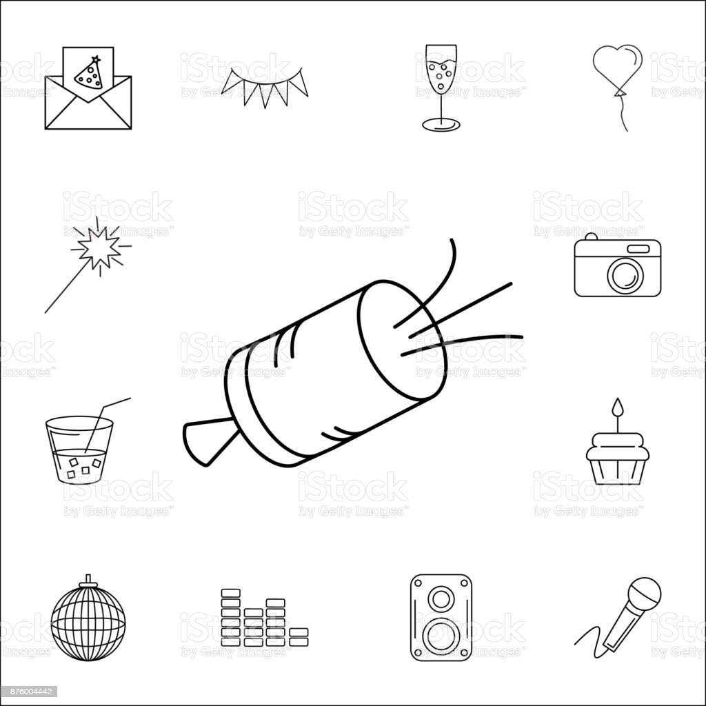 royalty free slapstick edy clip art vector images What Are the Parts of a Firework shooting slapstick icon set of party icons signs outline symbols collection simple