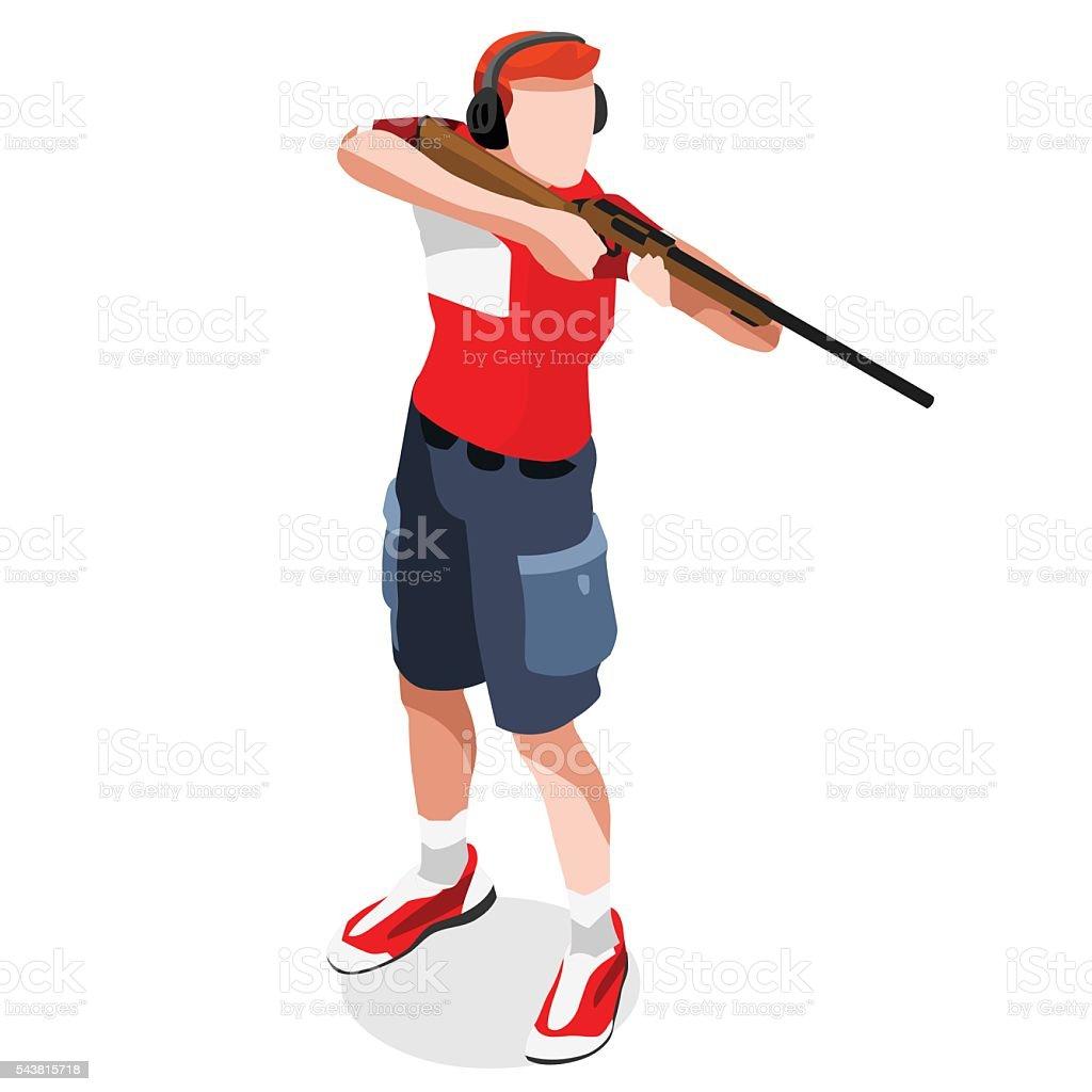 Shooting  Sports Isometric 3D Vector Illustration vector art illustration
