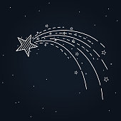 glowing shooting star hand drawn design