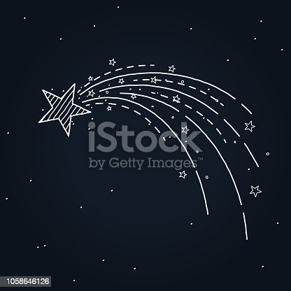 glowing shooting star hand drawn design