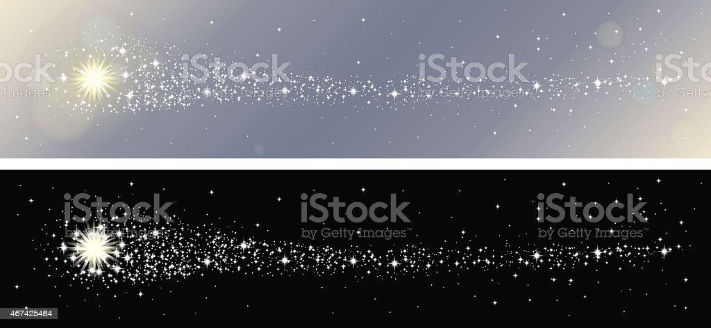 Shooting stars banner set vector art illustration