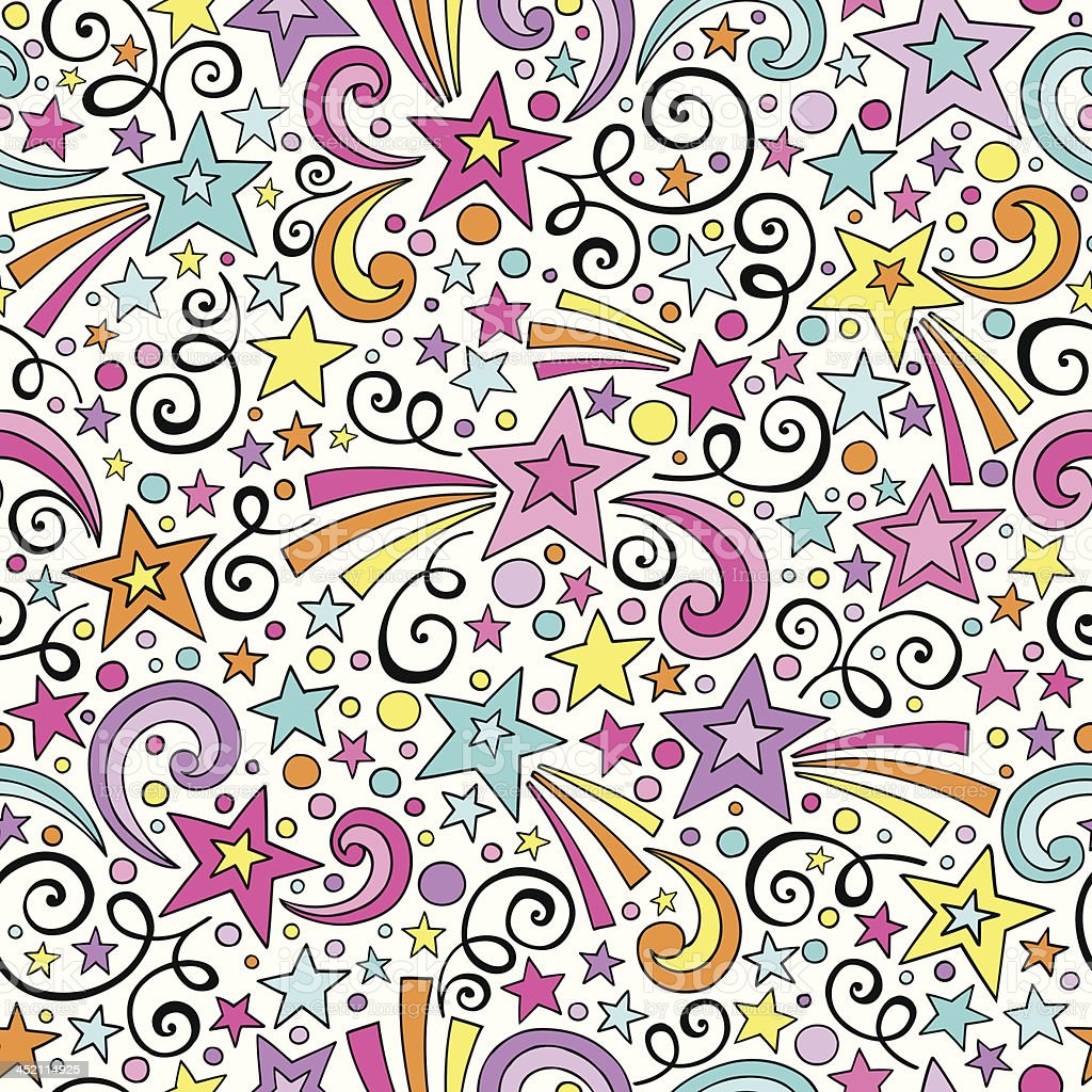 Shooting Stars Seamless Pattern Doodle Vector Design vector art illustration