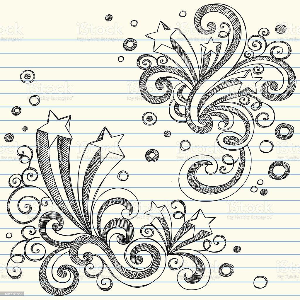 Shooting Stars Sketchy Doodles Vector Illustration vector art illustration