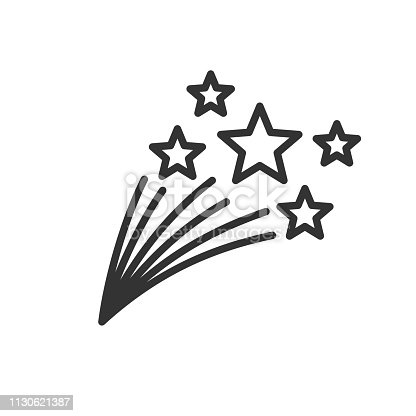 Shooting stars thin line illustration. Starfall, comet, meteor, with tails isolated design element. Fireworks contour symbol. Mobile app, website linear icon, logo. Simple vector drawing