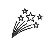 istock Shooting stars thin line illustration isolated on white background 1130621387