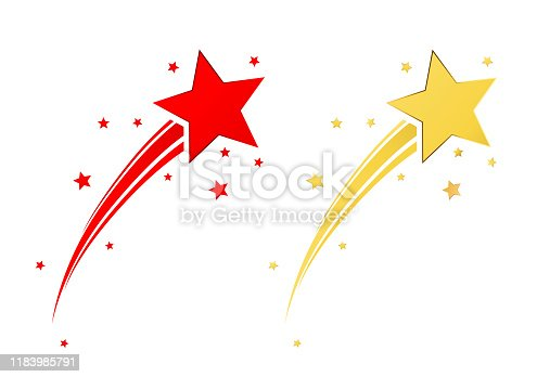 Red and gold shooting star vector set