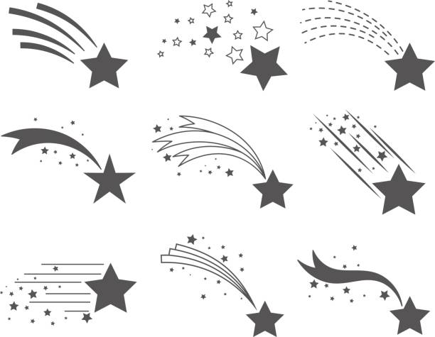 Shooting stars with tails icons vector art illustration