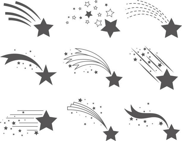 illustrations, cliparts, dessins animés et icônes de étoiles filantes avec des icônes de queues - forme étoilée