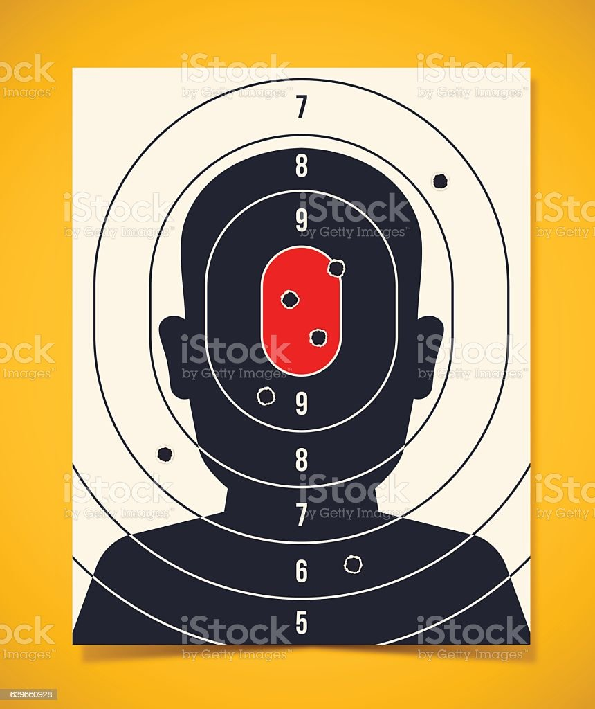 Shooting Target Head Silhouette vector art illustration