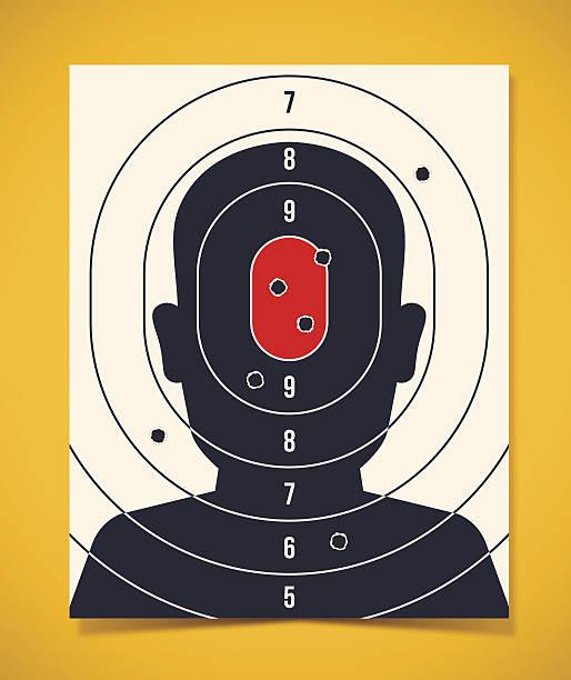 shooting target head silhouette - kopfschüsse stock-grafiken, -clipart, -cartoons und -symbole