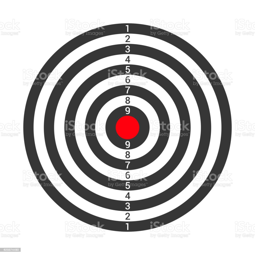 Shooting Target Icon Isolated on White Background. Vector shooting target icon isolated on white background vector - stockowe grafiki wektorowe i więcej obrazów bez ludzi royalty-free