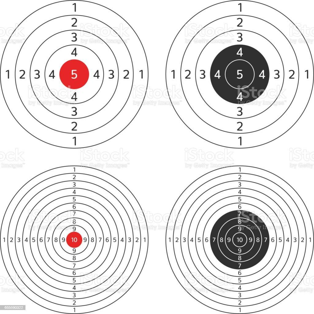 Shooting target vector set. vector art illustration