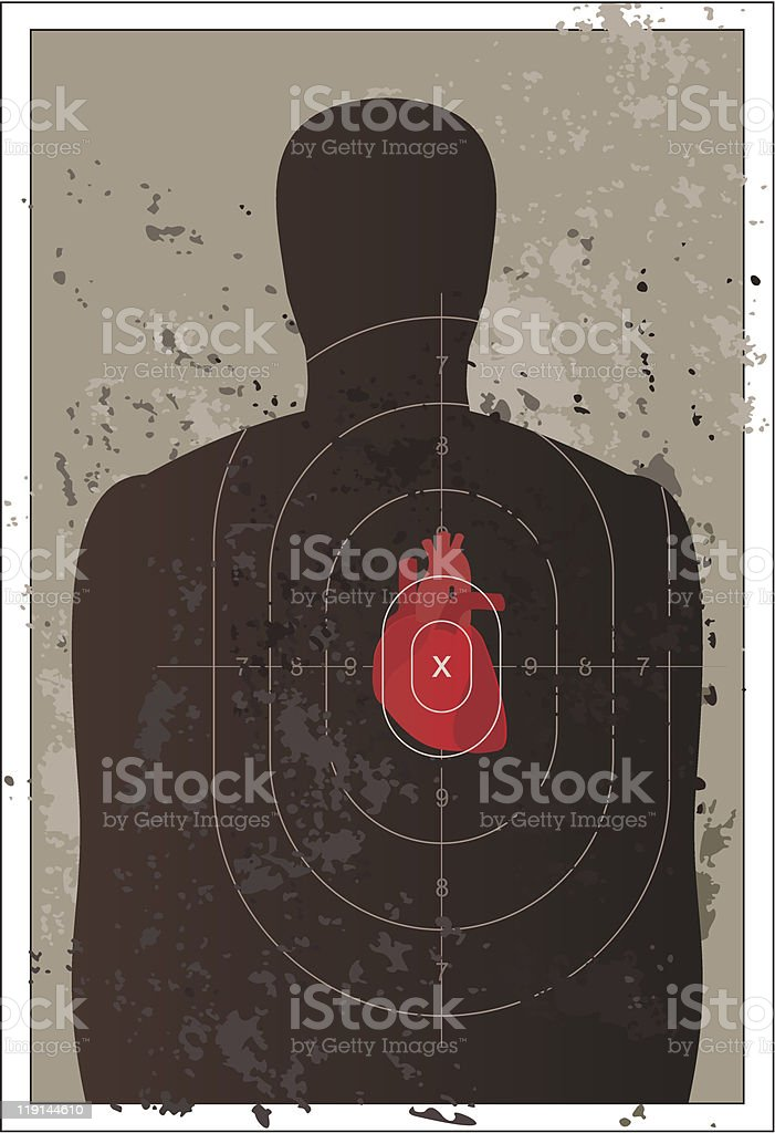 Shooting target with a human heart vector art illustration