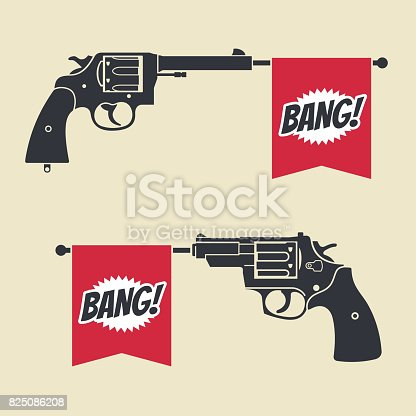 Shooting toy gun pistol with bang flag vector icon. Weapon pistol toy illustration