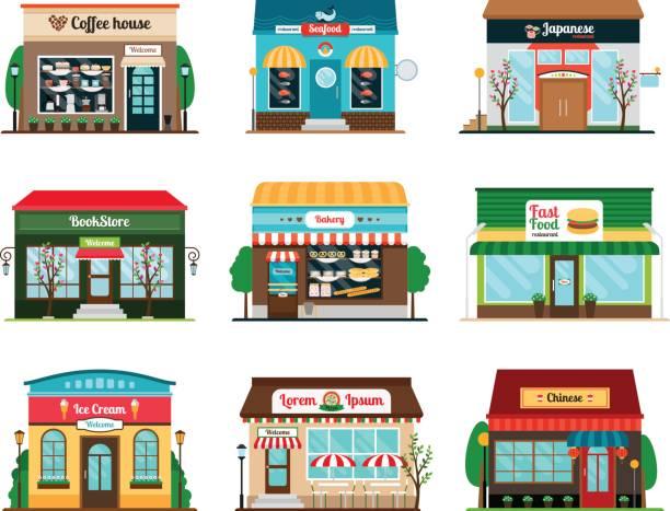 shop und café bunte icons - gastronomiebetrieb stock-grafiken, -clipart, -cartoons und -symbole