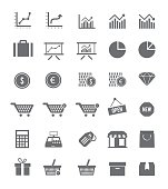 A set of shop and finance icons