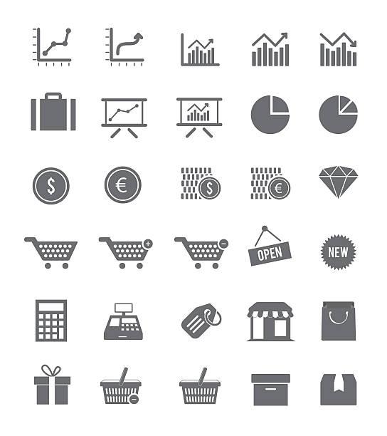 stockillustraties, clipart, cartoons en iconen met shop and finance icons - 2015