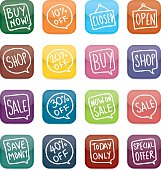 Shop and sale glossy block icons.