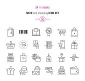 Line icon set of shop and shopping elements. Modern design icons for web and app design and development
