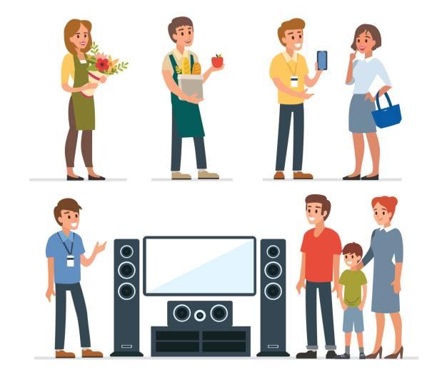 ilustraciones, imágenes clip art, dibujos animados e iconos de stock de de compras asistente - corredor de bolsa