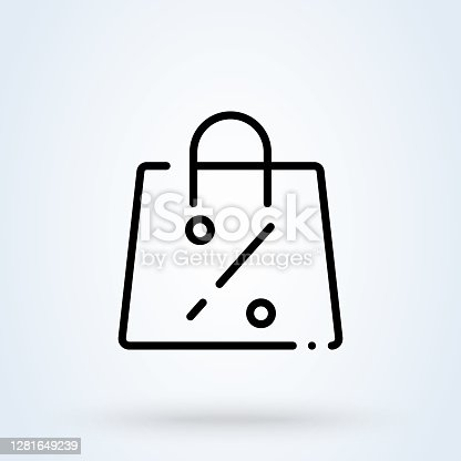 istock shop bag discount line icon or logo. shopping bag percent concept. best price vector linear illustration. 1281649239