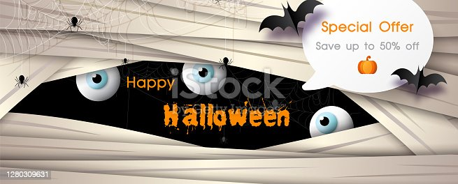 istock Shop banner and advertising with bats flying and Happy Halloween letters on face of giant evil background. All in banner and vector design. 1280309631