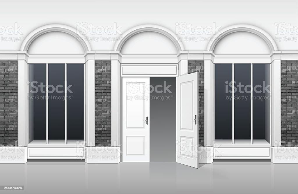 Shop Building Front With Glass Showcase Open Door Stock Vector Art