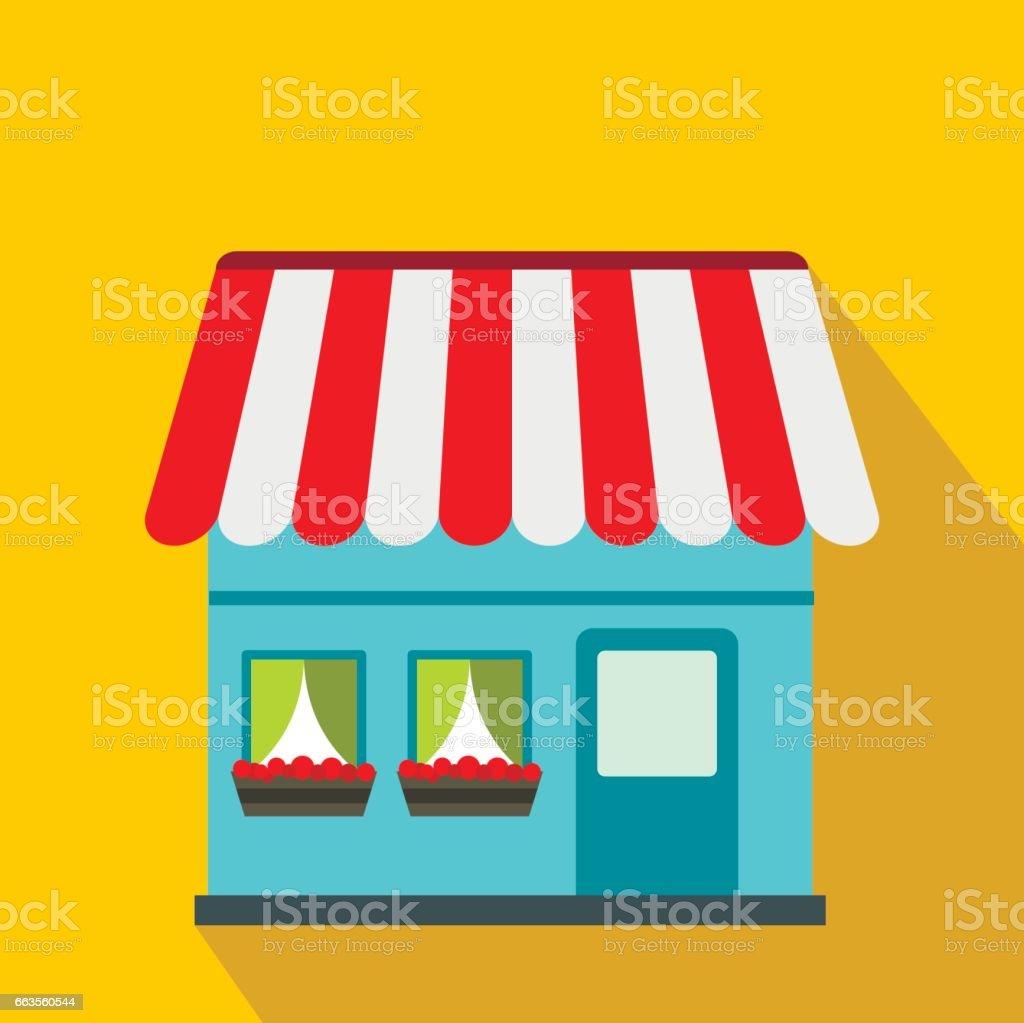 Shop building icon, flat style vector art illustration