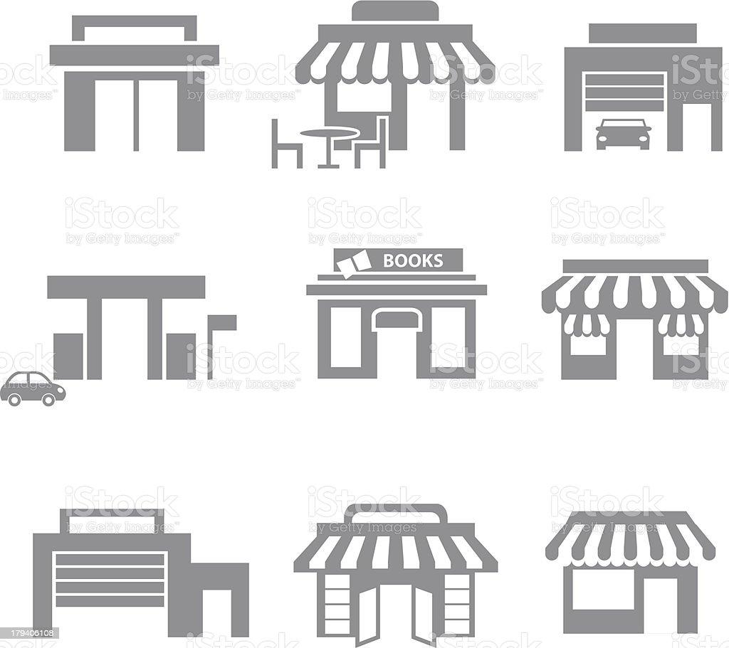 Shop building icon set - gray vector art illustration