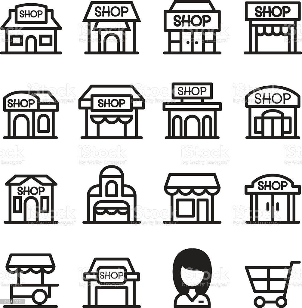 Shop building icon set - ilustração de arte em vetor