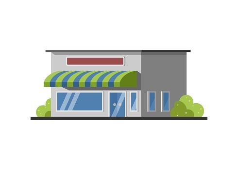 Shop building. Simple flat illustration.