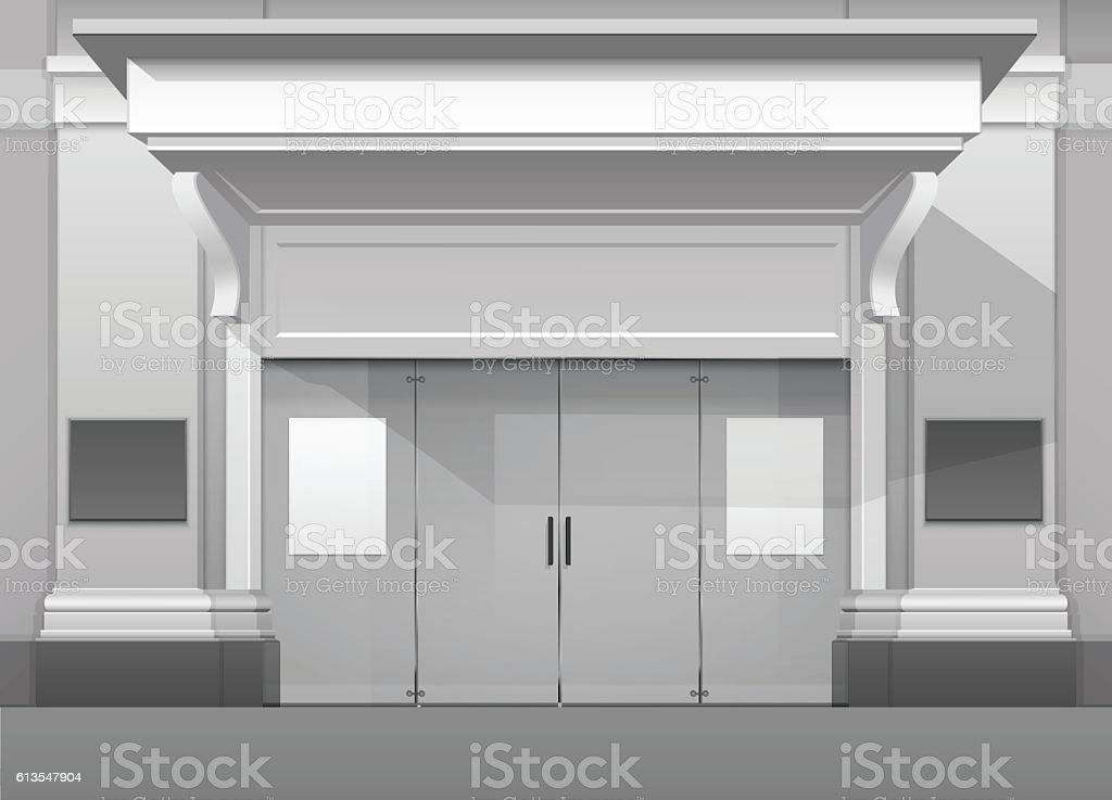 Shop Building Store Front With Closed Glass Door Stock Vector Art