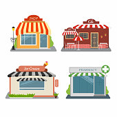 Shop, cafe, ice-cream store, pharmacy. Set of different colorful stores. Street buildings facade. Infographic elements. Vector illustration