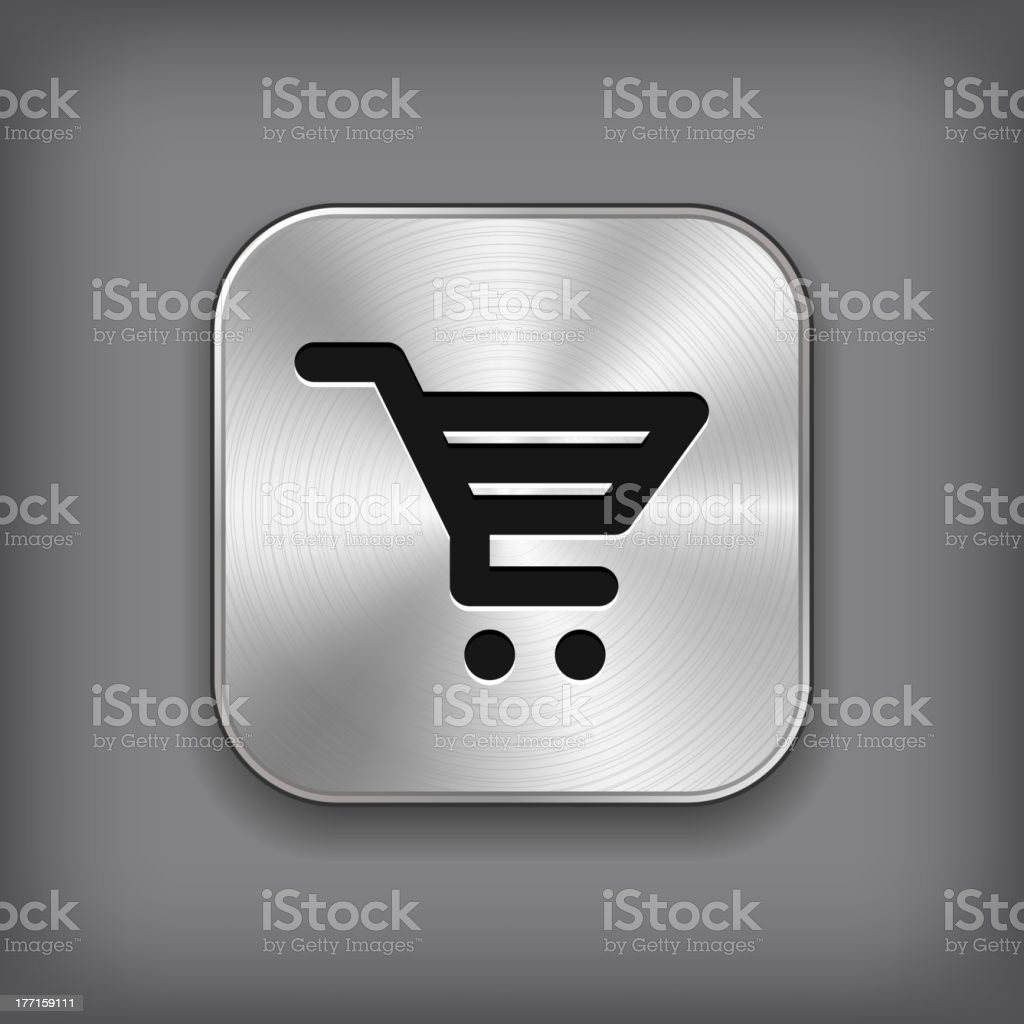 Shop cart icon - vector metal app button royalty-free shop cart icon vector metal app button stock vector art & more images of abstract