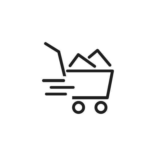 stockillustraties, clipart, cartoons en iconen met winkelwagentje lijn icoon - shopping cart