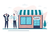 istock Shop closed. Empty storefront and plate on the door, the store is not working. Businessmen discuss financial loss 1248988066