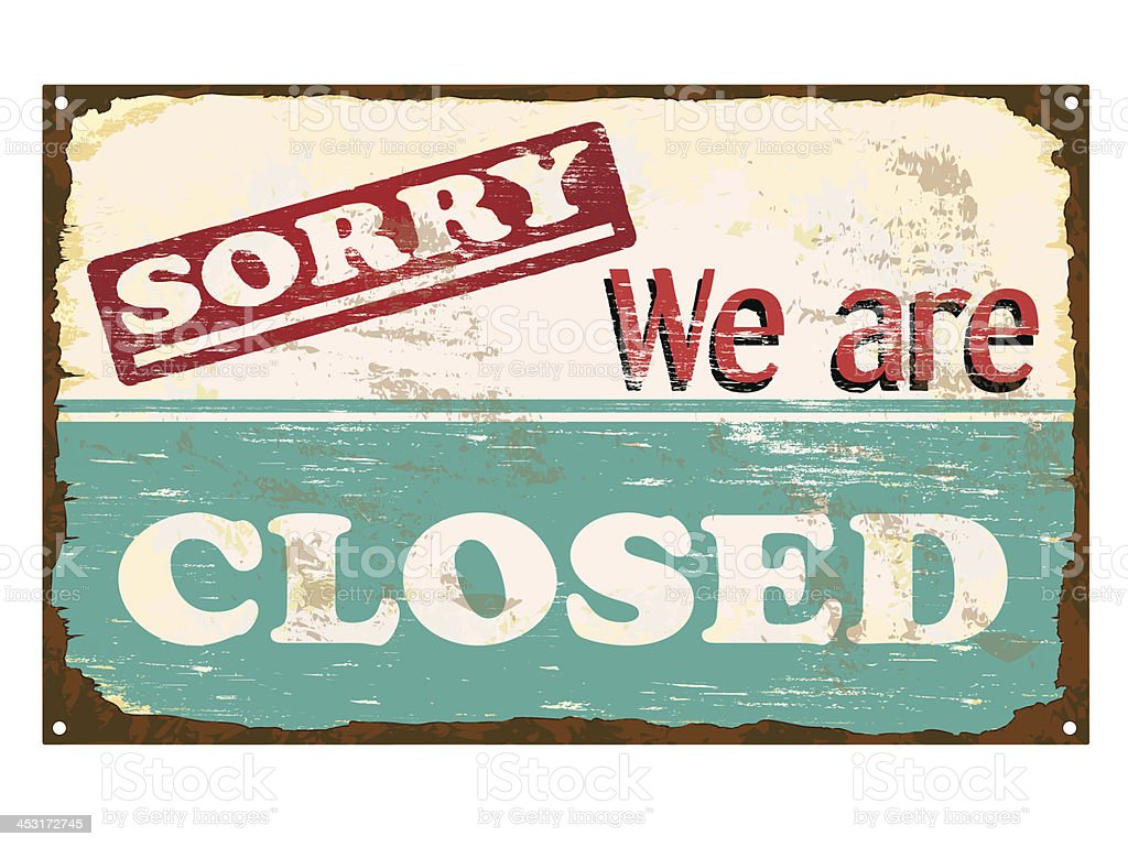 Shop Closed Enamel Sign vector art illustration