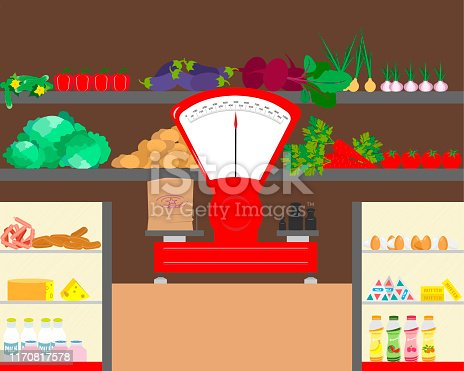 Shop counter with dairy products and vegetables. Counter with weights. Vector illustration.