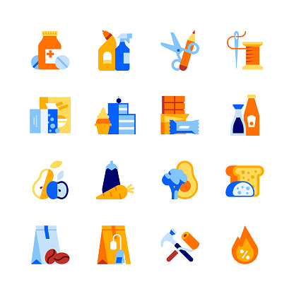 Shop departments vector icon set