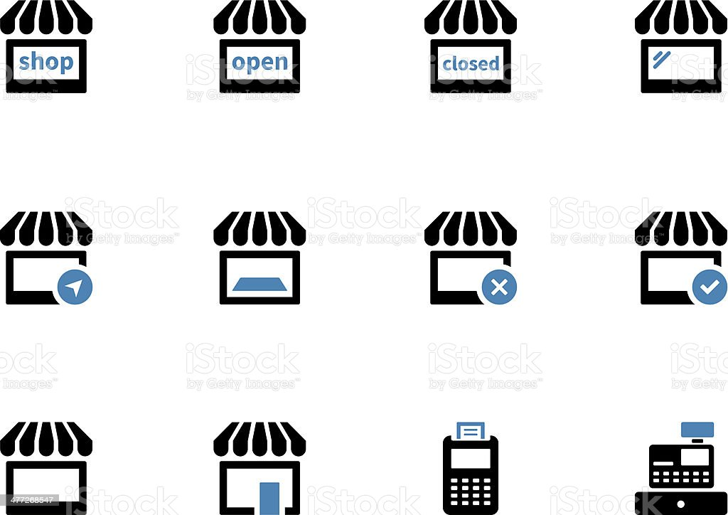 Shop duotone icons on white background. royalty-free stock vector art