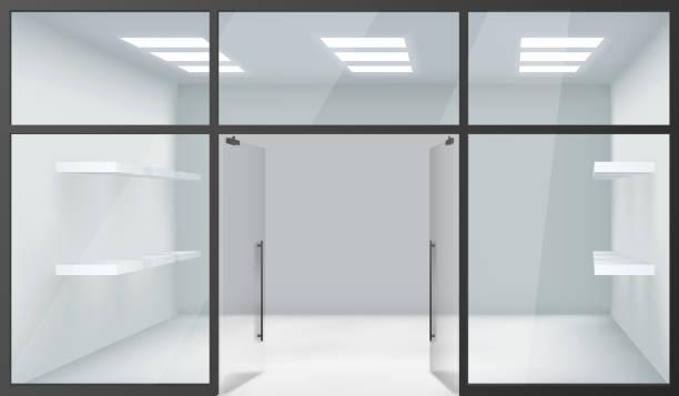 shop leere innere front store realistische 3d-fenster raum offene türen regale vorlage mockup hintergrund vektor-illustration - lampenshop stock-grafiken, -clipart, -cartoons und -symbole