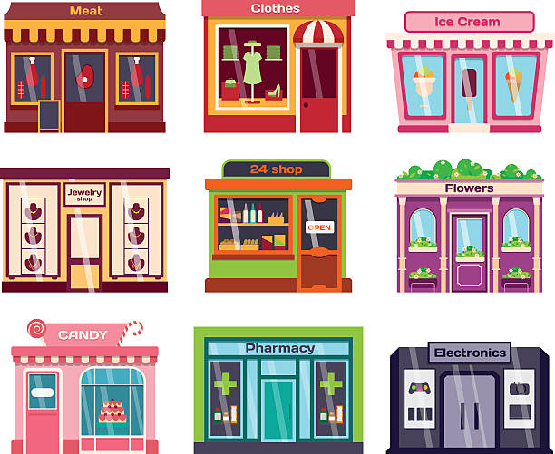 shop facade vector illustration - modeboutique stock-grafiken, -clipart, -cartoons und -symbole