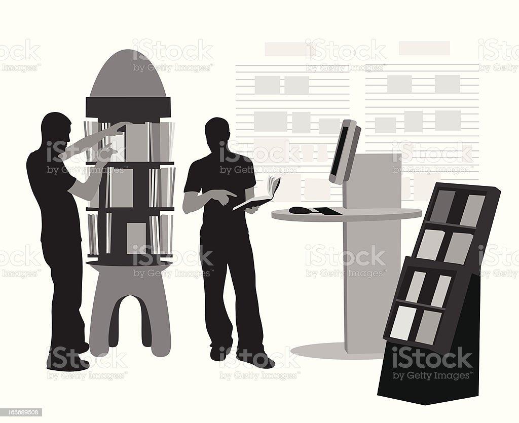 Shop For Books Vector Silhouette vector art illustration