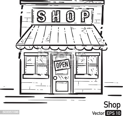 Shop Front With Awning Black And White Line Art Stock ...